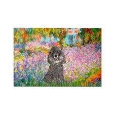 Garden / Poodle (Silver) Rectangle Magnet