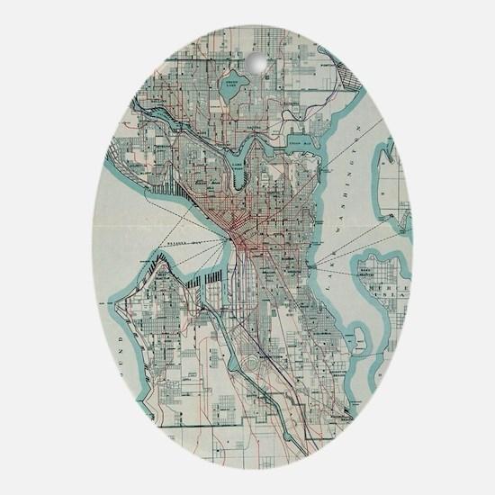Vintage Map of Seattle Washington (1 Oval Ornament