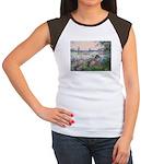 Seine / Poodle (Silver) Women's Cap Sleeve T-Shirt