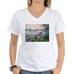 Seine / Poodle (Silver) Women's V-Neck T-Shirt