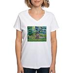 Bridge / Poodle (Silver) Women's V-Neck T-Shirt