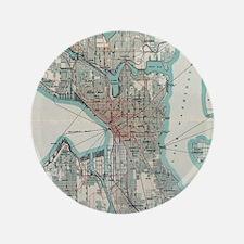 Vintage Map of Seattle Washington (1911) Button