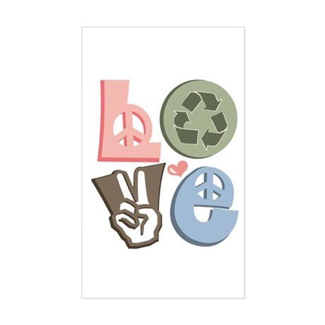 Love Recycle Rectangle Sticker