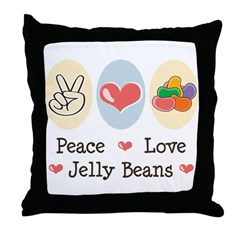 Peace Love Jelly Beans Throw Pillow