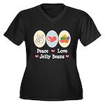 Peace Love Jelly Beans Women's Plus Size V-Neck Da