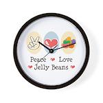 Peace Love Jelly Beans Wall Clock