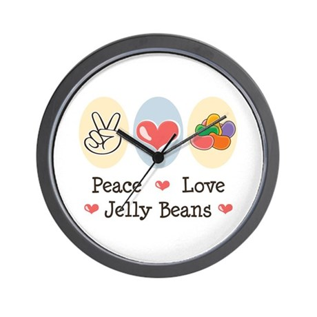 Peace Love Jelly Beans Wall Clock