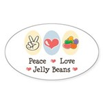 Peace Love Jelly Beans Oval Sticker