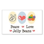 Peace Love Jelly Beans Rectangle Sticker