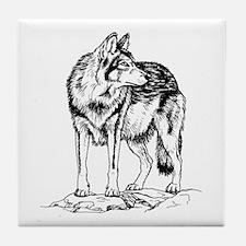 Wolf on Rocks Sketch Tile Coaster