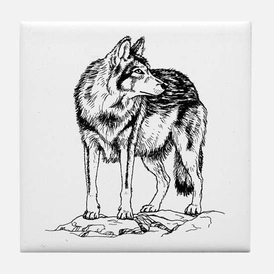 Wolf on Rocks Sketch Tile Coaster