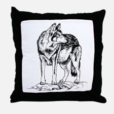 Wolf on Rocks Sketch Throw Pillow