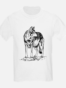 Wolf on Rocks Sketch T-Shirt