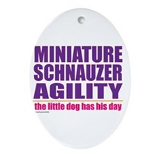 Miniature Schnauzer Agility Oval Ornament