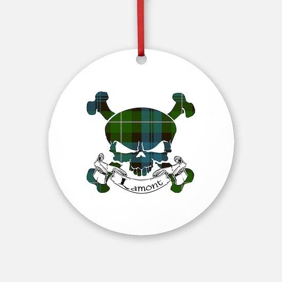 Lamont Tartan Skull Ornament (Round)