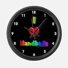 I Love Handbells Black Large Wall Clock