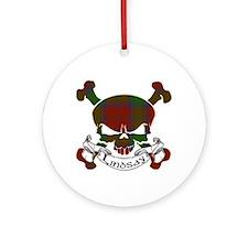 Lindsay Tartan Skull Ornament (Round)