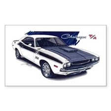 Dodge Challenger White Car Rectangle Decal