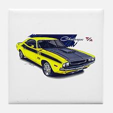 Dodge Challenger Yellow Car Tile Coaster