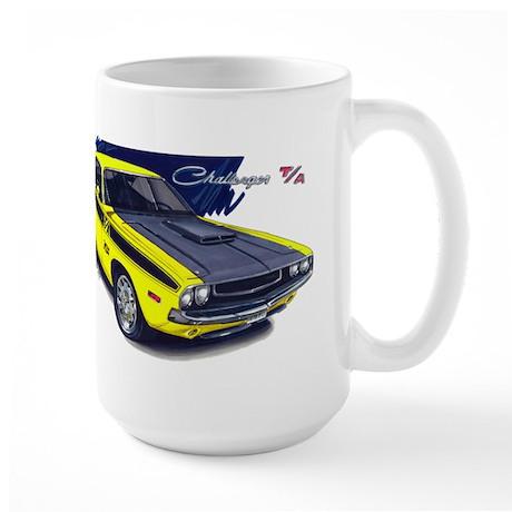 Dodge Challenger Yellow Car Large Mug
