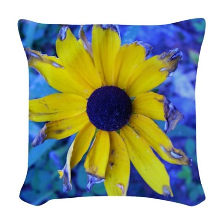 Withered Black Eyed Susie Woven Throw Pillow