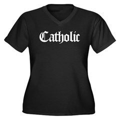 Catholic Women's Plus Size V-Neck Dark T-Shirt