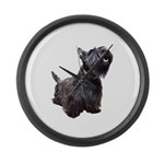 Black Terrier Large Wall Clock