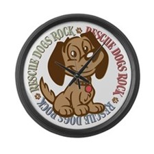Rescue Dogs Rock 2 Large Wall Clock