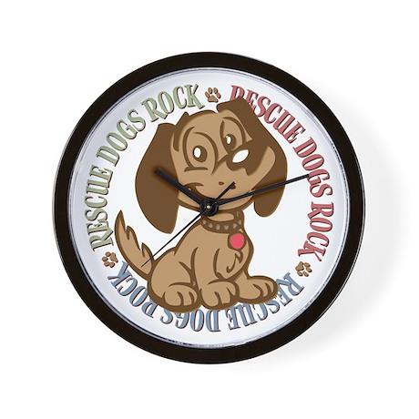 Rescue Dogs Rock 2 Wall Clock