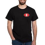 Oval Swiss flag Black T-Shirt