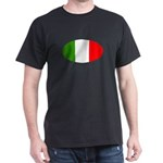 Oval Italian flag Black T-Shirt