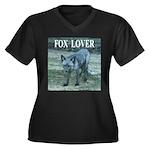 Fox Lover Women's Plus Size V-Neck Dark T-Shirt