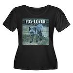 Fox Lover Women's Plus Size Scoop Neck Dark T-Shir