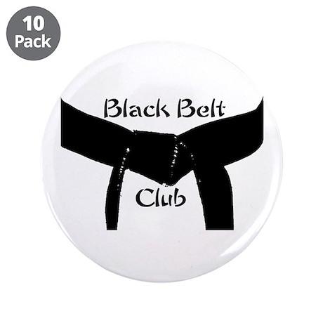 "Martial Arts Black Belt Club 3.5"" Button 10PK"