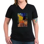 Cafe / Rhodesian Ridgeback Women's V-Neck Dark T-S