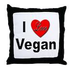 I Love Vegan Throw Pillow