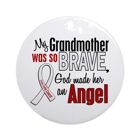 Angel 1 GRANDMOTHER Lung Cancer Ornament (Round)