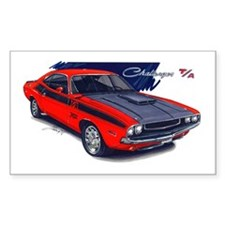 Dodge Challenger Red Car Rectangle Decal