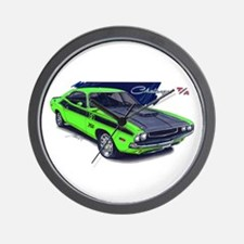 Dodge Challenger Green Car Wall Clock