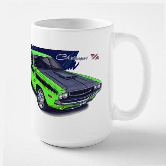 Dodge Challenger Green Car Large Mug