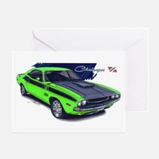Dodge Challenger Green Car Greeting Card