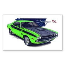 Dodge Challenger Green Car Rectangle Decal