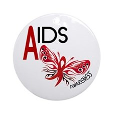 Butterfly 3 AIDS AWARENESS Ornament (Round)