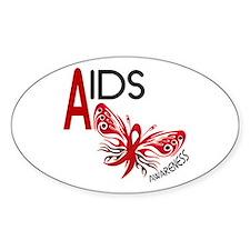 Butterfly 3 AIDS AWARENESS Oval Sticker (50 pk)
