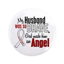 "Angel 1 HUSBAND Lung Cancer 3.5"" Button"