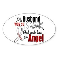 Angel 1 HUSBAND Lung Cancer Oval Decal