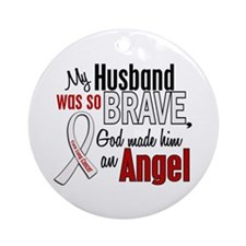 Angel 1 HUSBAND Lung Cancer Ornament (Round)