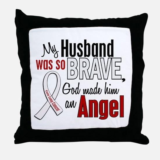 Angel 1 HUSBAND Lung Cancer Throw Pillow