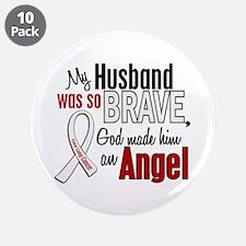 "Angel 1 HUSBAND Lung Cancer 3.5"" Button (10 pack)"