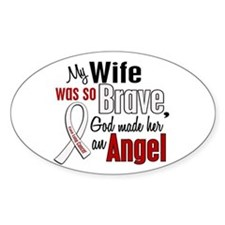 Angel 1 WIFE Lung Cancer Oval Decal
